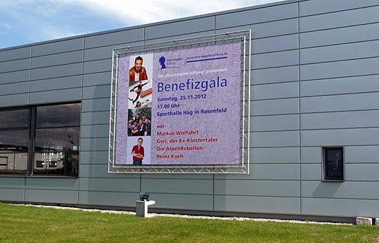 Plakat für das Benefizkonzert bei der Firma Fensterbau Leopold in Rosenfeld